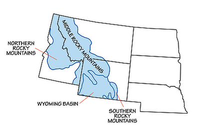 Figure 4.18: Physiographic subregions of the Rocky Mountains.