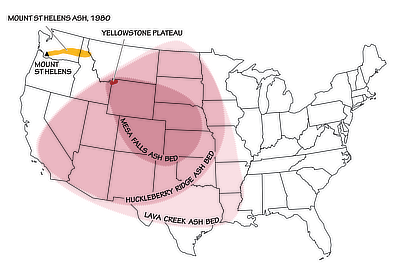 Figure 2.29: The extent of the three most recent ashfalls from Yellowstone supervolcano eruptions, as compared to the eruption of Mt. St. Helens in 1980.