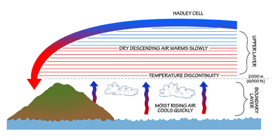 Figure 9.15: The rate of cooling of moist boundary layer air is faster than the rate of warming of dry descending Hadley cell air. The temperature (density) discontinuity prevents boundary layer air from mixing with upper layer air, and so it creates an upper ceiling for cloud formation.
