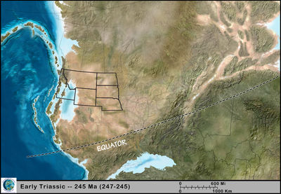 Figure 1.9: The Northwest Central US during the early Triassic, approximately 245 million years ago.