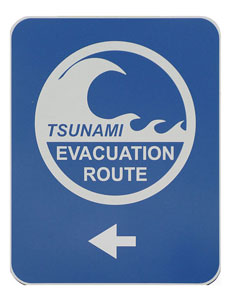 Figure 10.9: A typical tsunami evacuation route sign.