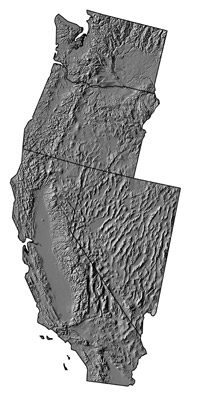 Figure 4.2: Digital shaded relief map of the contiguous Western States.